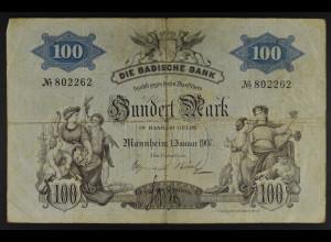 Baden 1. Januar 1907 100 Mark Seriennummer 802262 Erhaltungsgrad IV