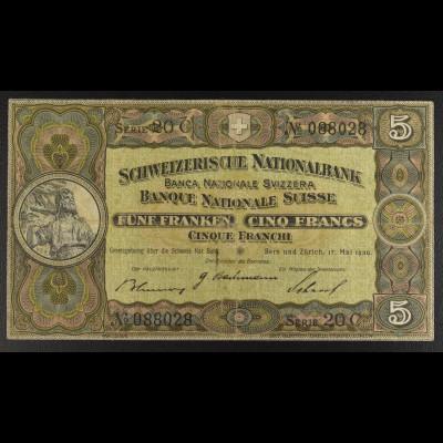 Schweiz, Fünf Franken, 5 Franken Schein, 17. Mai 1939, Wilhelm Tell Denkmal