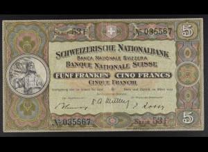 Schweiz, Fünf Franken, 5 Franken Schein, 28. März 1952, Wilhelm Tell-Denkmal