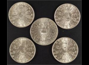 Österreich 4 Stück Doppelschilling und 50 Schilling Motive Schubert 1928