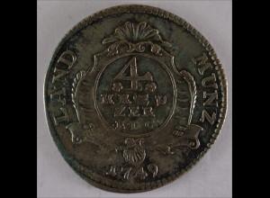 Nassau Weilburg Fürst Karl-August 1749 E. D. G. Silber 4 Kreuzer 1,7 g ss+