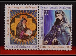 Vatikan Cittá del Vaticano 2015, Michel Nr. 1846-47, Ignat. Maloyan,Gregor Narek