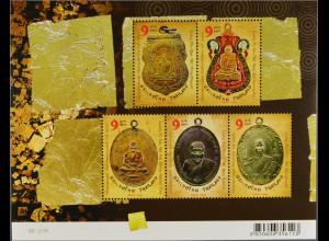 Thailand 2011, Block 270, Amulette mit den Bildnissen buddhistischer Mönche