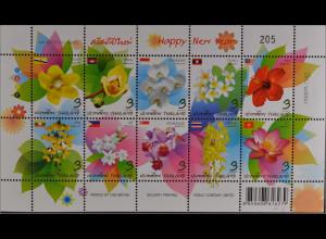 Thailand 2013, 3370-79, Nationalblumen der ASEAN-Staaten, Brunei, Laos, Birma