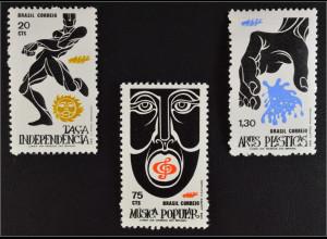 Brasilien Brasil 1972 Michel Nr. 1324-26 Förderung der volkstümlichen Kunst