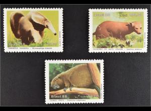 Brasilien Brasil 1988 MiNr. 2259-61 Geschützte Tiere: Ameisenbär Waldhund