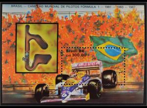 Brasilien Brasil 1988 Block 73 Formel 1 Weltmeisterschaft Williams Honda