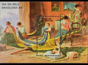 Brasilien Brasil 1988 Block 74 Gemälde Das Vaterland von Pedro Bruno