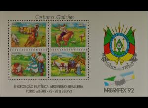 Brasilien Brasil 1992 Block 88 Leben der Gauchos Pferdewagen Porto Alegre