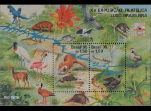 Brasilien Brasil 1995 Block 99 Flora und Fauna Riesenotter Gürteltier Fisch