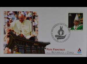 Vatikan Papstreisebelege FDC Papst Franziskus 18. August 2014 Korea