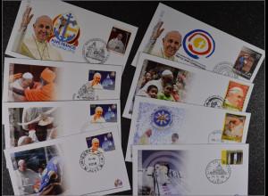 Vatikan Papstreisebelege FDC Papst Franziskus 13. - 15. Januar 2015 Philippinen