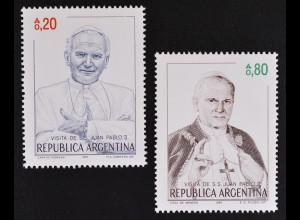 Argentinien Argentina 1987 MiNr. 1856-57 Besuch von Papst Johannes Paul II.