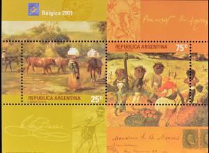 Argentinien Argentina 2001 Block 75 Int. Briefmarkenausstellung BELGICA 2001