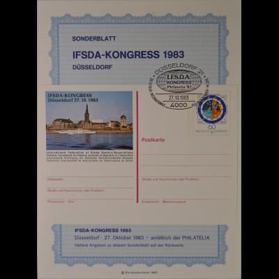 Sonderblatt Ifsda Kongress 1983 Düsseldorf Sonderstempel 27.10.1983