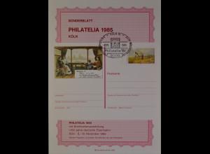 Sonderblatt Philatelia 1985 Köln Sonderstempel 8.11.1985 150 Jahre Eisenbahn