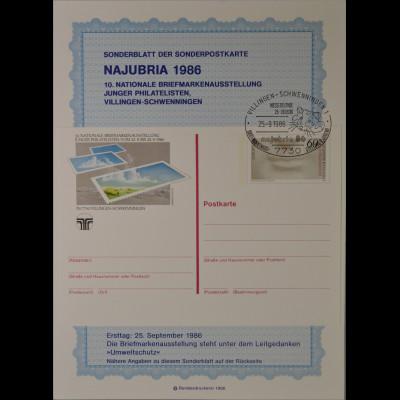 Sonderblatt der Sonderpostkarte Najubria 1986 Umweltschutz Europa SST Hamster