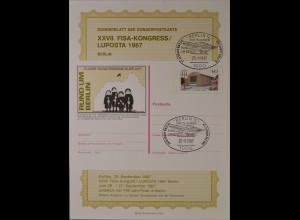 Sonderblatt der Sonderpostkarte Luposta 1987 Rund um Berlin Postbeförderung