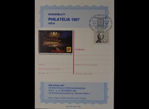 Sonderblatt Philatelia 1987 Köln Philharmonie Köln Architekten Busmann Haberer