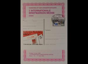 Sonderblatt der Sonderpostkarte Messe Essen 1988 Europa Sonderschau Marshallplan