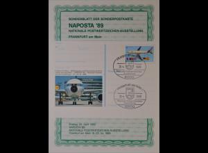 Sonderblatt der Sonderpostkarte Naposta 1989 Europa Flughafen Frankfurt am Main