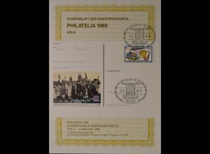 Sonderblatt der Sonderpostkarte Philatelia 1989 Köln Europa Drachensteigen