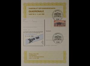 Sonderblatt der Sonderpostkarte Quadronale Leer 1990 Europa Cept