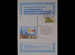 Sonderblatt der Sonderpostkarte Briefmarkenausstellung der Jugend Düsseldorf `90