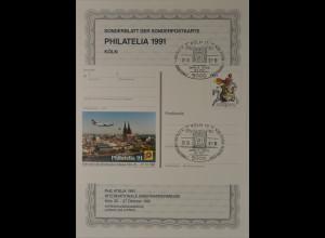 Sonderblatt der Sonderpostkarte Philatelia 1991 Köln Luftpost Luftfahrt