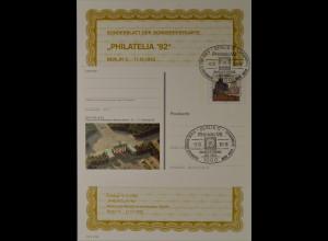 Sonderblatt der Sonderpostkarte Philatelia 1992 in Berlin Sonderstempel Berlin