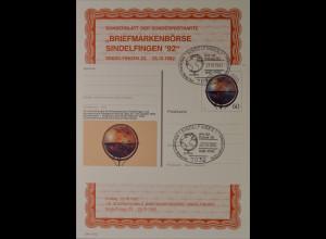Sonderblatt der Sonderpostkarte Sindelfingen 1992 500 Jahre Globus Erdglobus