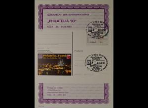 Sonderblatt der Sonderpostkarte Philatelia 1993 Köln Philatelia mit T`Card 93