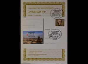 Sonderblatt der Sonderpostkarte Philatelia Köln 1994 Die grenzenlose Sammlerwelt