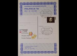 Sonderblatt der Sonderpostkarte Philatelia 1995 Köln 100 Jahre Film UN Nationen