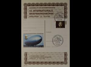 Sonderblatt der Sonderpostkarte Briefmarkenbörse Sindelfingen 1995 Zeppelin