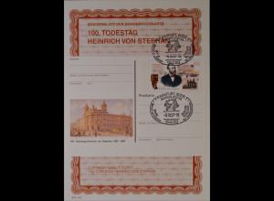 Sonderblatt der Sonderpostkarte Heinrich von Stephan 1997