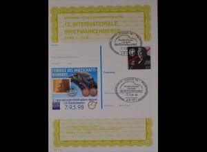 Sonderblatt der Sonderpostkarte Briefmarkenmesse Essen 1998 Dr. Ludwig Erhard