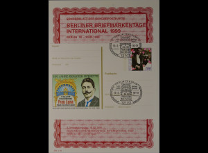 Sonderblatt der Sonderpostkarte Berliner Briefmarkentage 1999 Paul Lincke