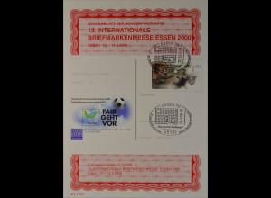 Sonderblatt der Sonderpostkarte Briefmarkenmesse Essen 2000 Fair geht vor