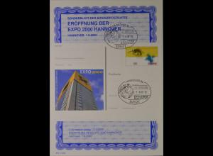 Sonderblatt der Sonderpostkarte Eröffnung der EXPO 2000 Hannover Expo