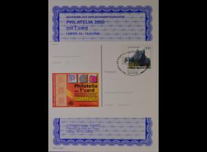 Sonderblatt der Sonderpostkarte Philatelia 2000 mit T`card Leipzig