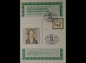 Sonderblatt der Sonderpostkarte Briefmarkenmesse Rheinland Pfalz 2001 Koblenz