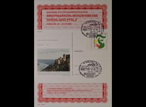 Sonderblatt der Sonderpostkarte Bfm.- + Münzenmesse Rheinland Pfalz Koblenz 2002