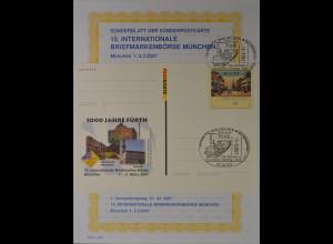 Sonderblatt der Sonderpostkarte Briefmarkenbörse München 1000 Jahre Fürth 2007