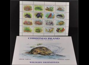 Weihnachtsinseln 1987 Michel Nr. 233-48 II ZD-Bogen Freimarken Tiere