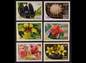 Nepal 2015 Michel Nr. 1202-07 Pflanzen Flora Orchideen Lilie Iris