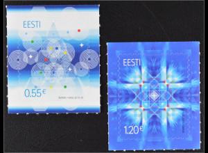 Estland EESTI 2015 Michel Nr. 843-44 Weihnachten Geometrische Figuren Schnee