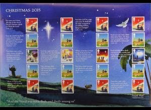 Großbritannien 2015 MiNr. 3825-32 Weihnachten Reise nach Bethlehem Folienbogen