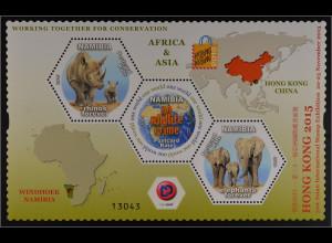 Namibia 2015 Neuheit Briefmarkenausstellung Hong Kong Nashorn und Elefant Block