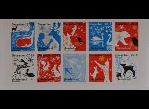 Niederlande 2015 Michel Nr. 3424-33 Weihnachten Dezembermarken Schwan Eisbär
